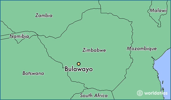 map showing the location of Bulawayo