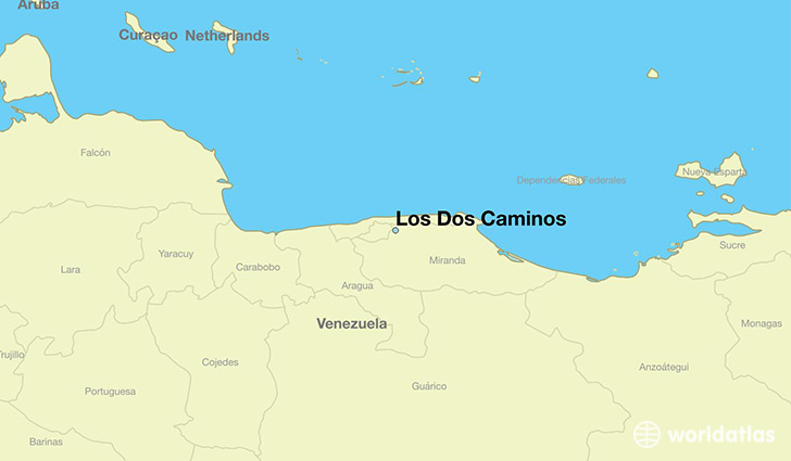 map showing the location of Los Dos Caminos