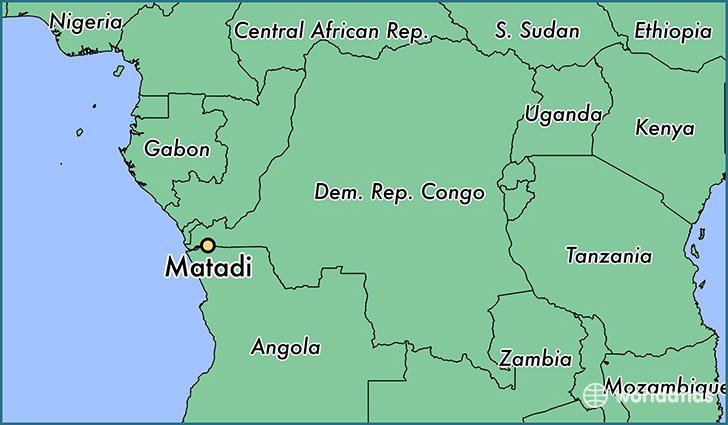 map showing the location of Matadi