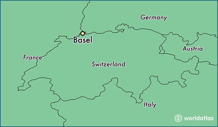 map showing the location of Basel