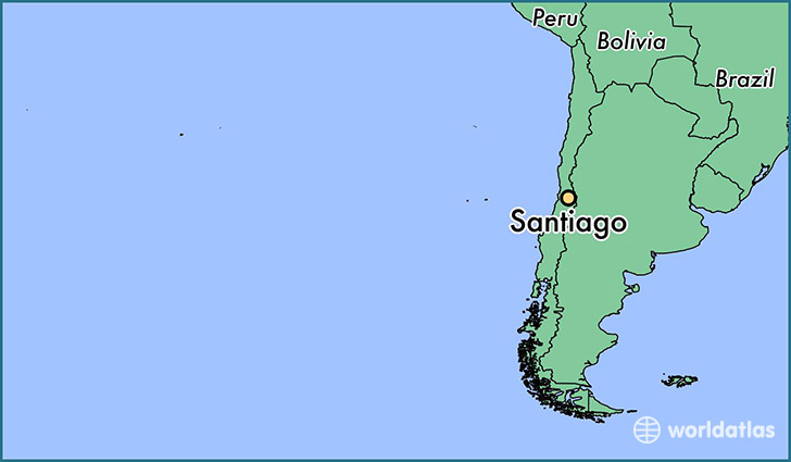 map showing the location of Santiago