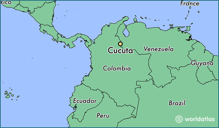 map showing the location of Cucuta