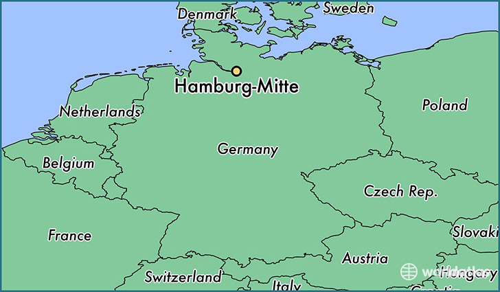 map showing the location of Hamburg-Mitte
