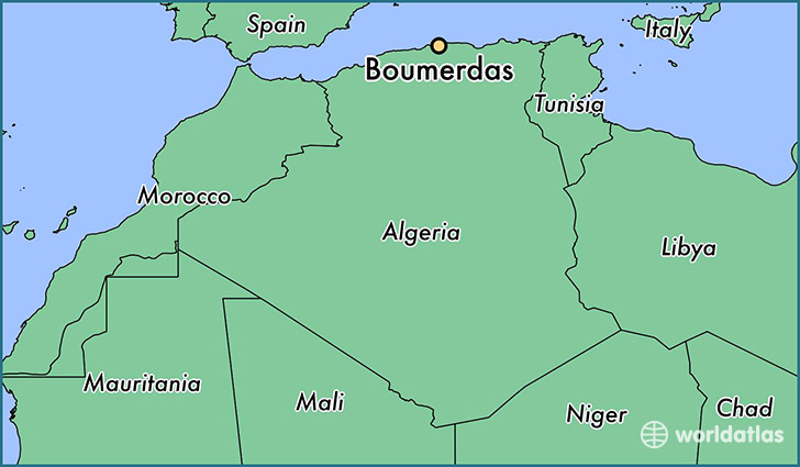 map showing the location of Boumerdas
