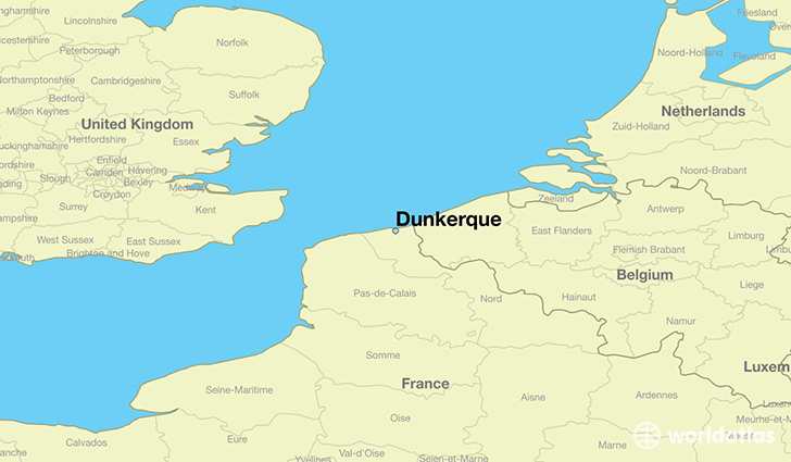 map showing the location of Dunkerque