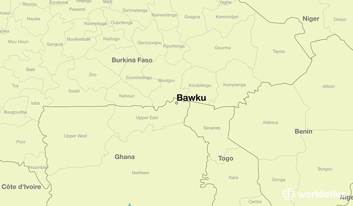 map showing the location of Bawku