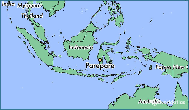 map showing the location of Parepare