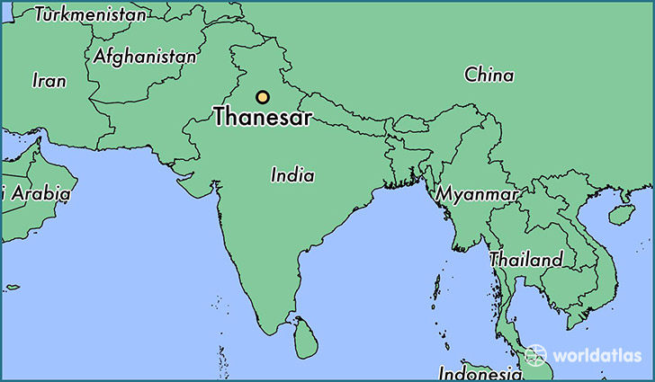 map showing the location of Thanesar