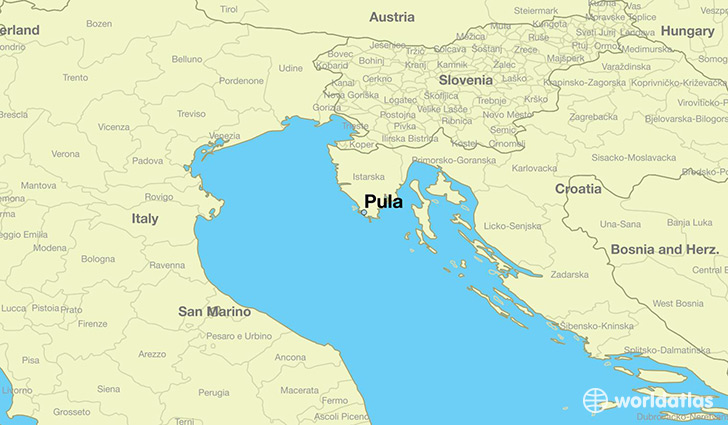 map showing the location of Pula