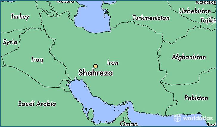 map showing the location of Shahreza