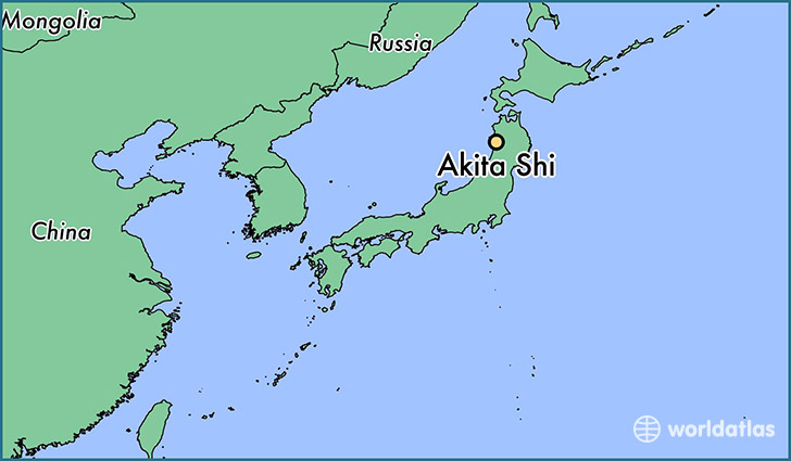 map showing the location of Akita Shi