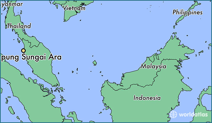 map showing the location of Kampung Sungai Ara