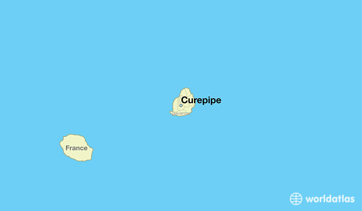 map showing the location of Curepipe