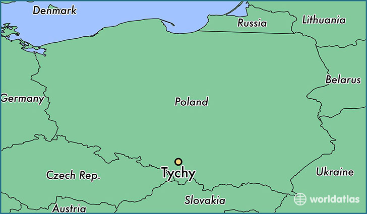 map showing the location of Tychy