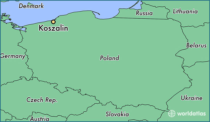 map showing the location of Koszalin