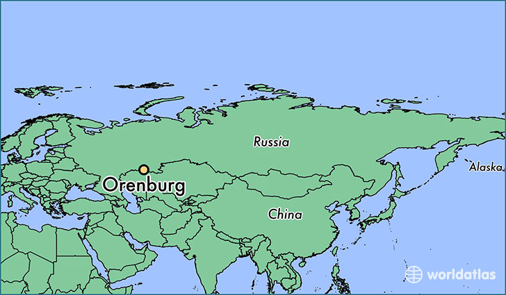 map showing the location of Orenburg