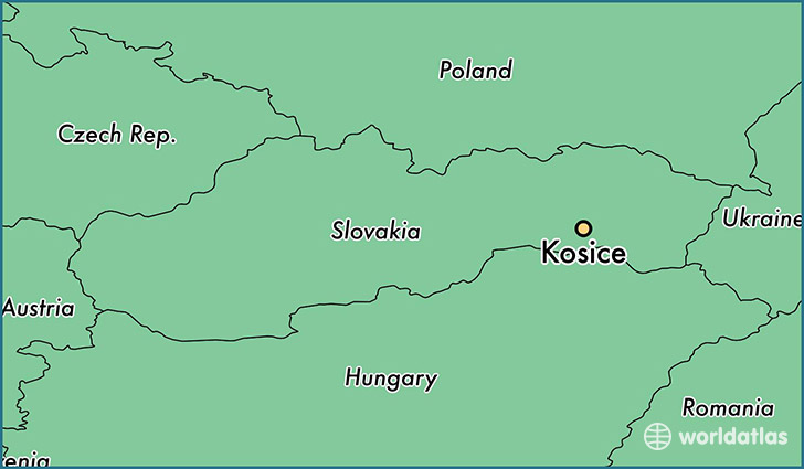 map showing the location of Kosice