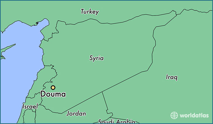 Where is douma syria douma rif dimashq map worldatlas map showing the location of douma publicscrutiny Gallery