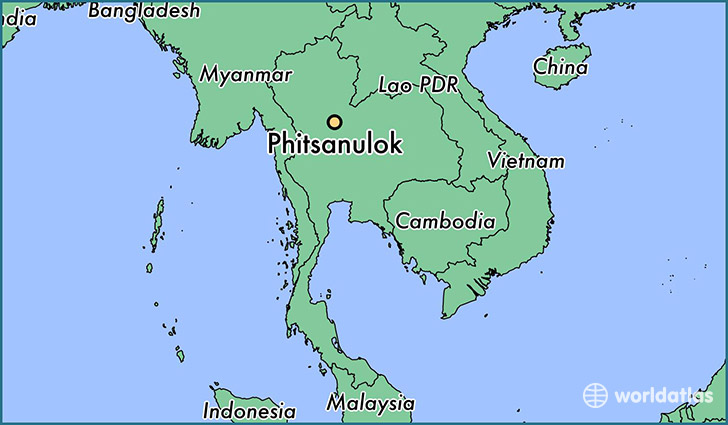map showing the location of Phitsanulok