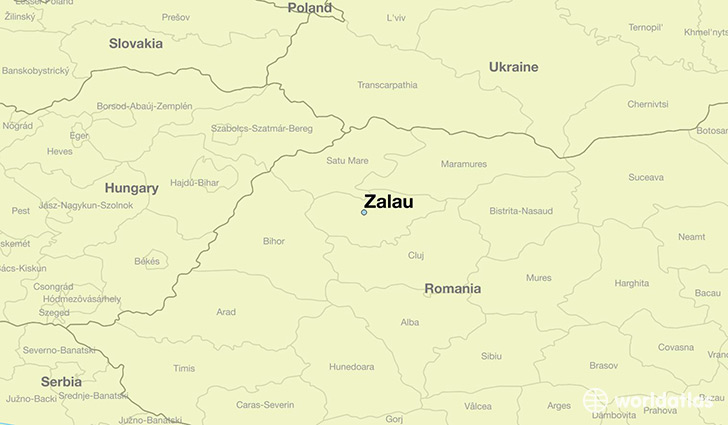 map showing the location of Zalau