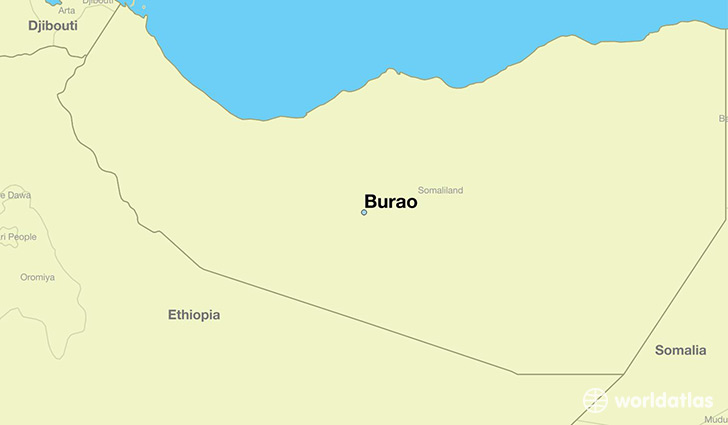map showing the location of Burao