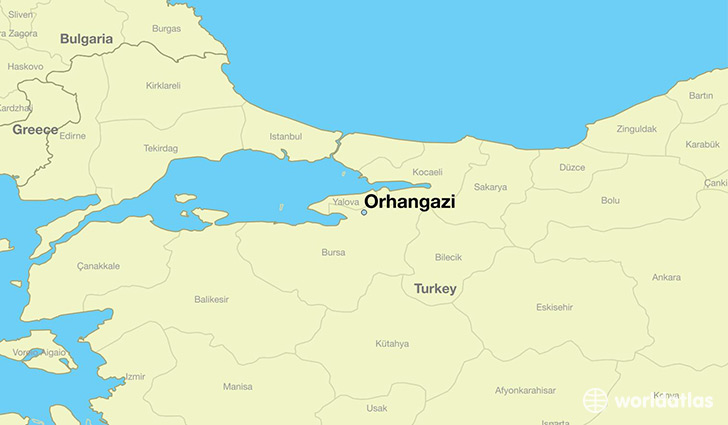 map showing the location of Orhangazi