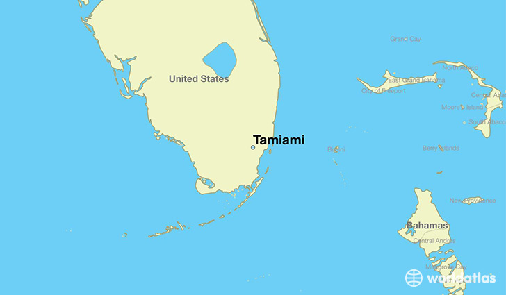 map showing the location of Tamiami