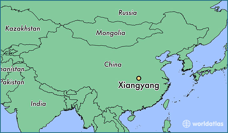 map showing the location of Xiangyang