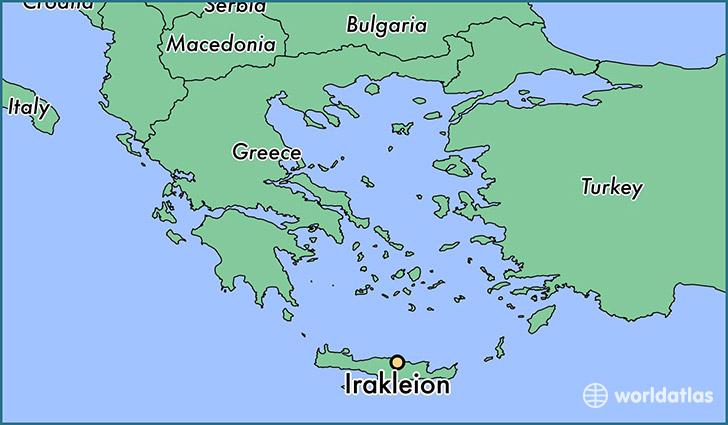 map showing the location of Irakleion