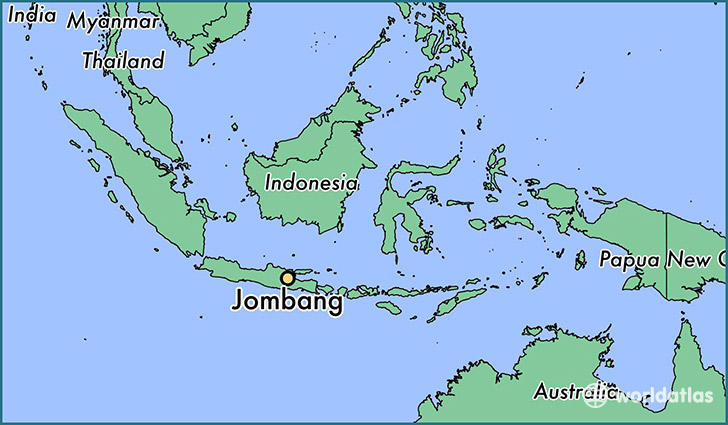 map showing the location of Jombang