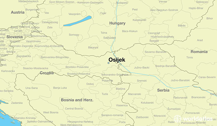 map showing the location of Osijek