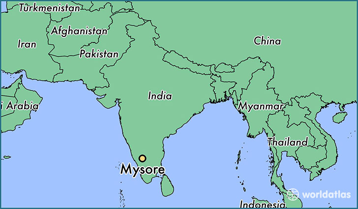 map showing the location of Mysore