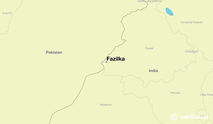 map showing the location of Fazilka