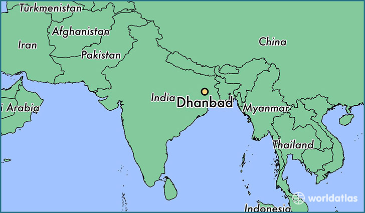 map showing the location of Dhanbad