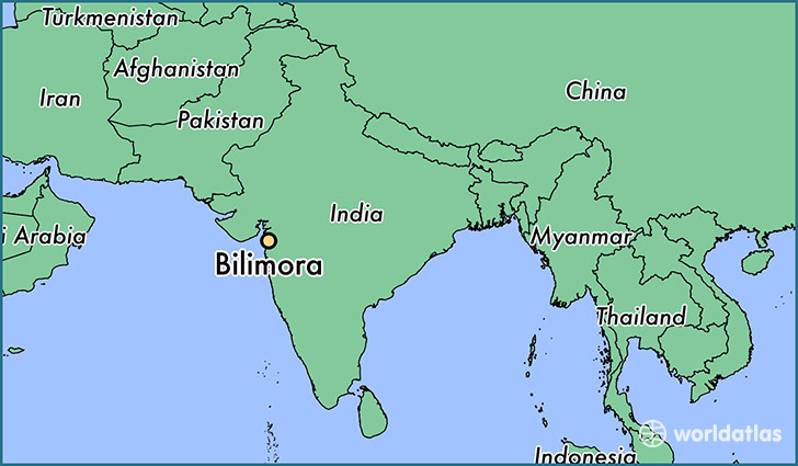 map showing the location of Bilimora