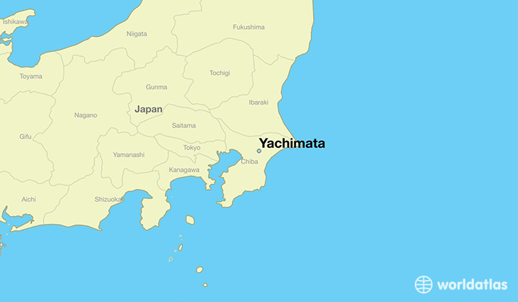 map showing the location of Yachimata
