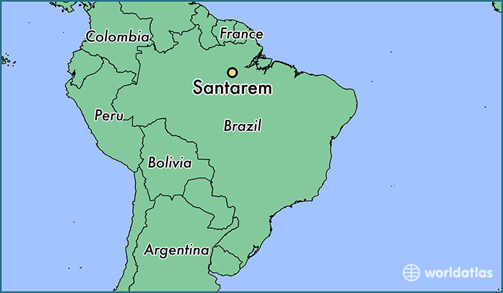 map showing the location of Santarem