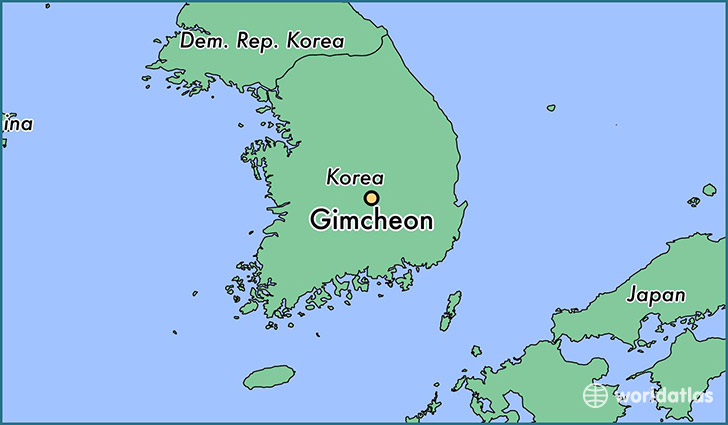 map showing the location of Gimcheon