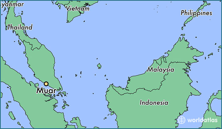map showing the location of Muar