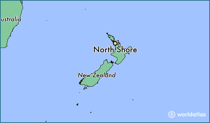 map showing the location of North Shore