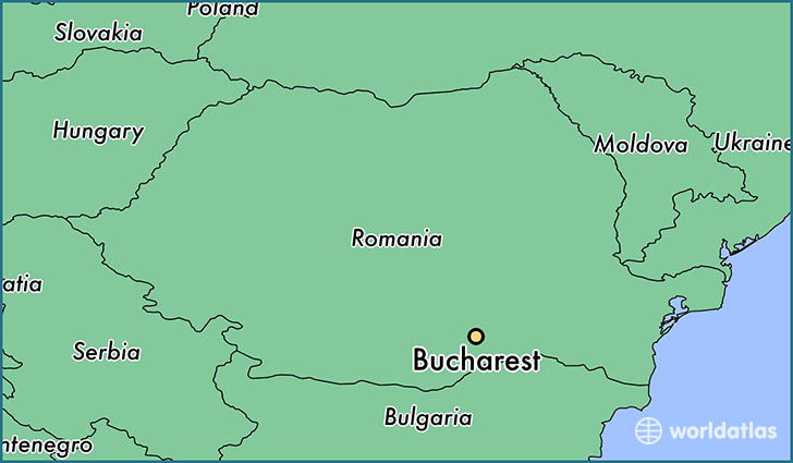 map showing the location of Bucharest