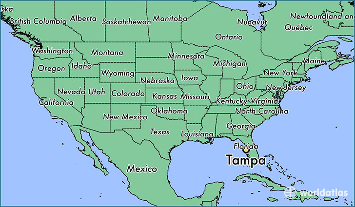 map showing the location of Tampa