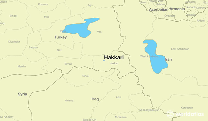 map showing the location of Hakkari
