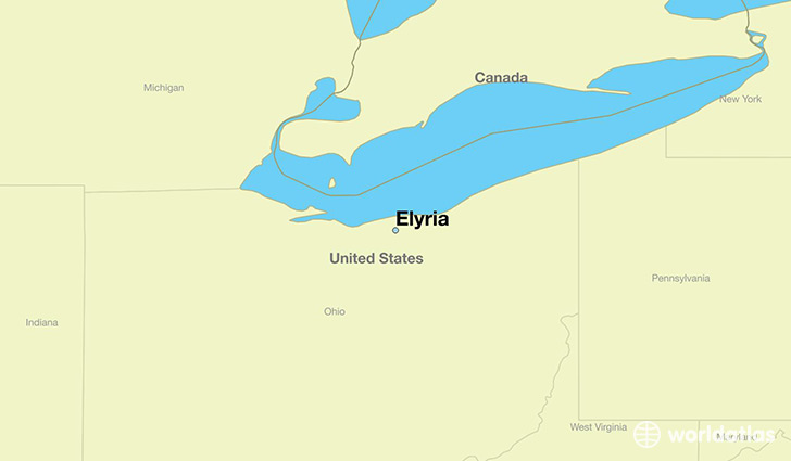 map showing the location of Elyria