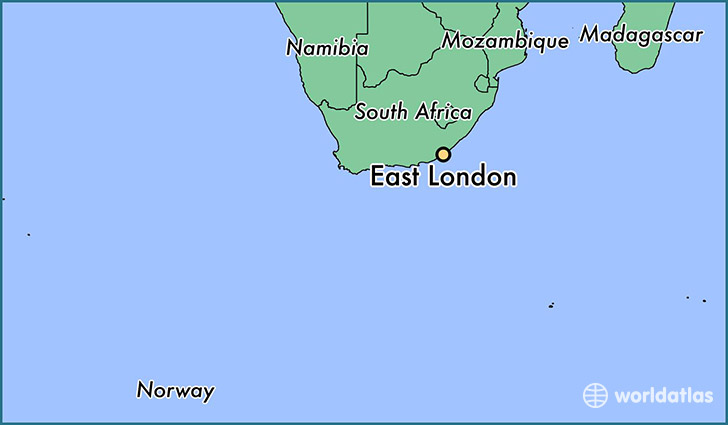 map showing the location of East London