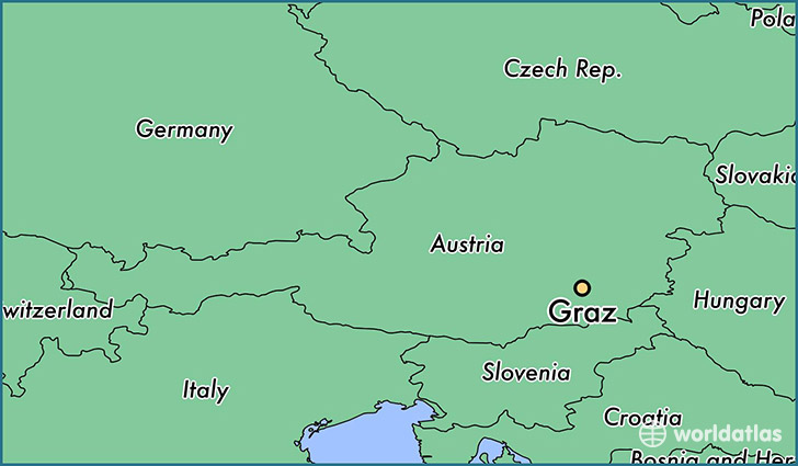 map showing the location of Graz