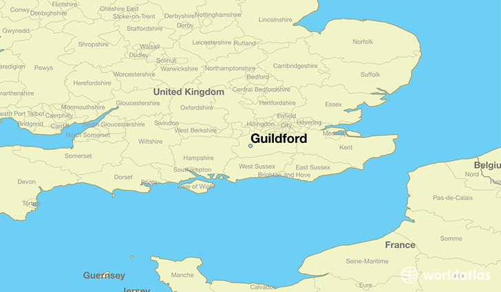 map showing the location of Guildford