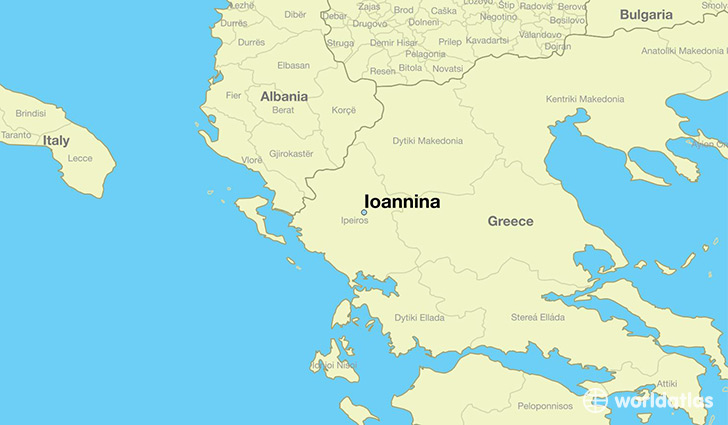 map showing the location of Ioannina
