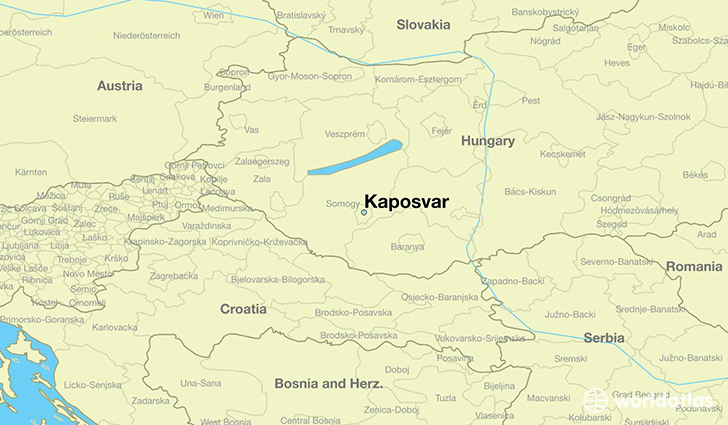 map showing the location of Kaposvar