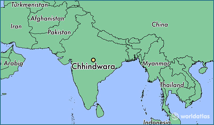 map showing the location of Chhindwara